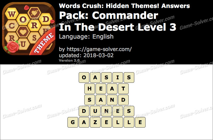 Words Crush Commander-In The Desert Level 3 Answers