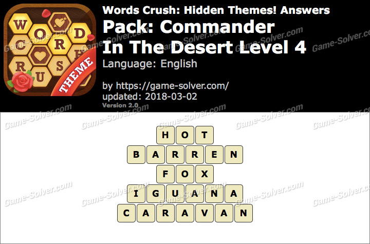 Words Crush Commander-In The Desert Level 4 Answers