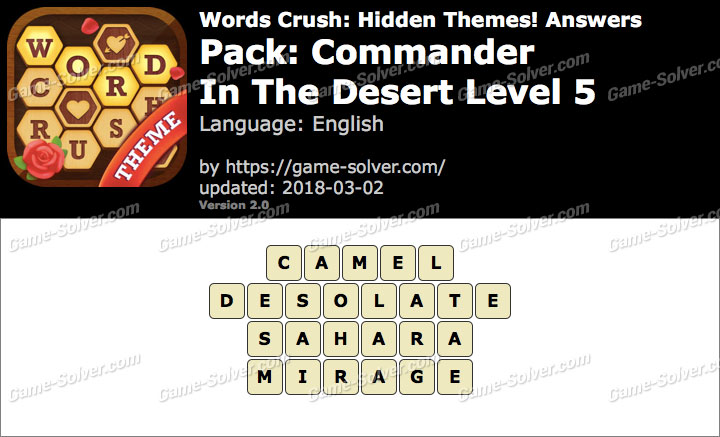 Words Crush Commander-In The Desert Level 5 Answers