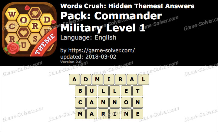 Words Crush Commander-Military Level 1 Answers