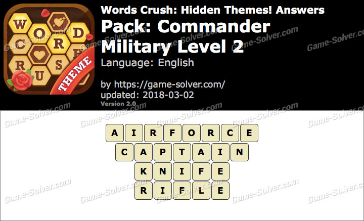 Words Crush Commander-Military Level 2 Answers