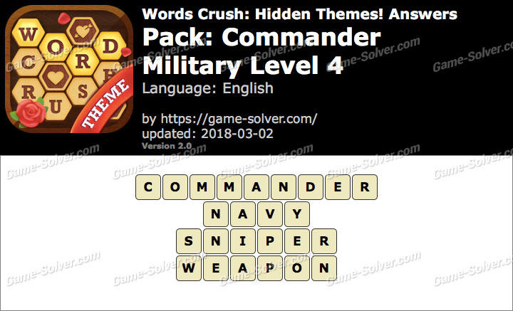 Words Crush Commander-Military Level 4 Answers