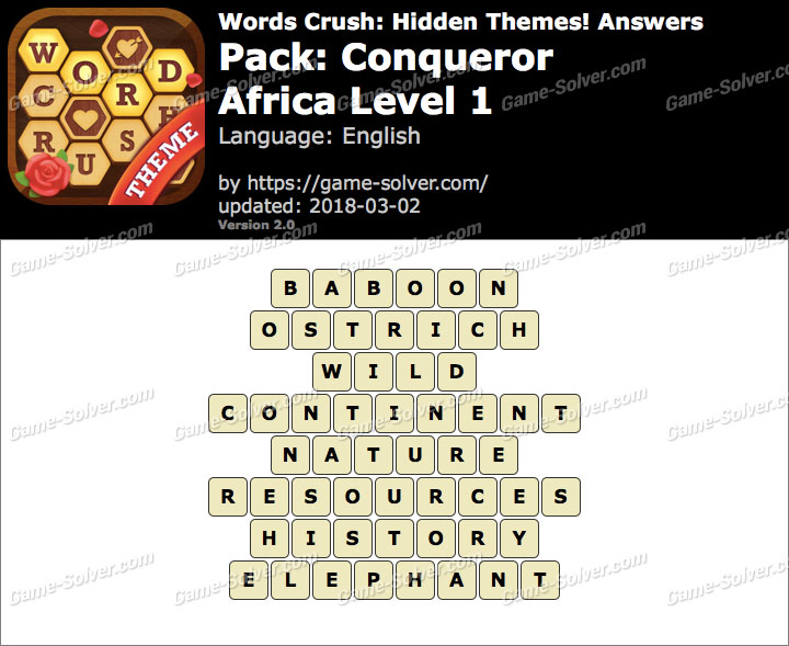 Words Crush Conqueror-Africa Level 1 Answers
