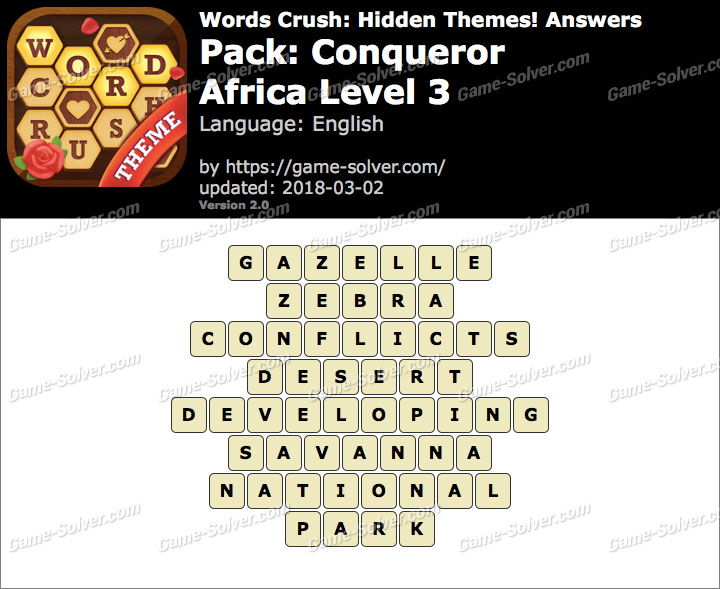 Words Crush Conqueror-Africa Level 3 Answers