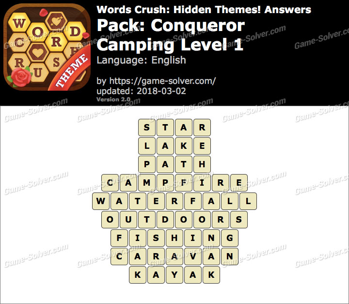 Words Crush Conqueror-Camping Level 1 Answers