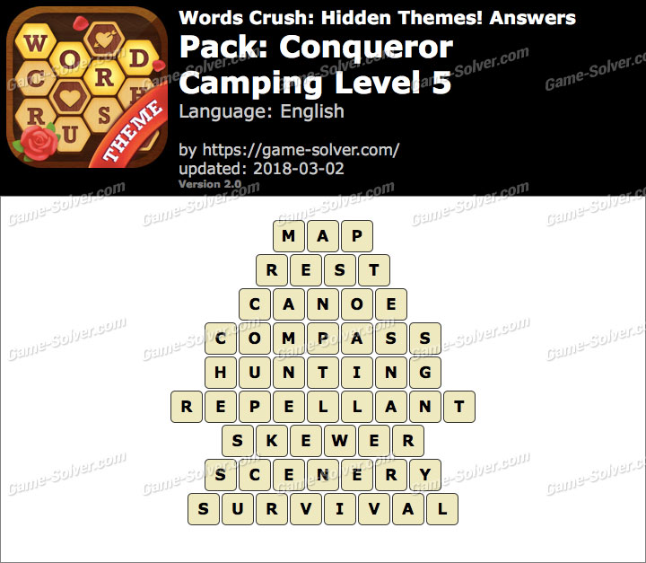 Words Crush Conqueror-Camping Level 5 Answers