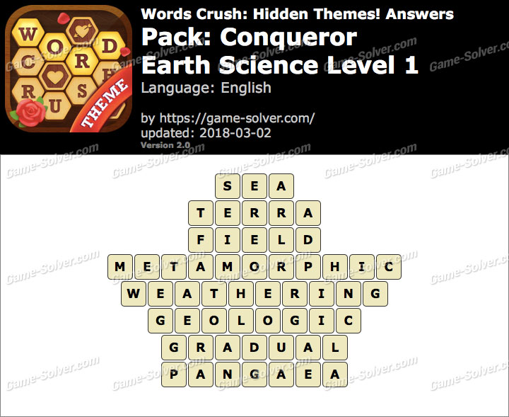Words Crush Conqueror-Earth Science Level 1 Answers