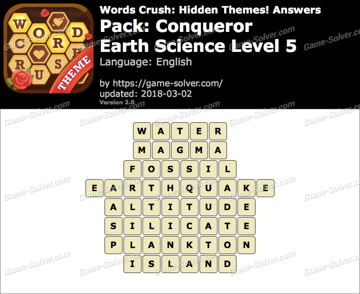 Words Crush Conqueror-Earth Science Level 5 Answers