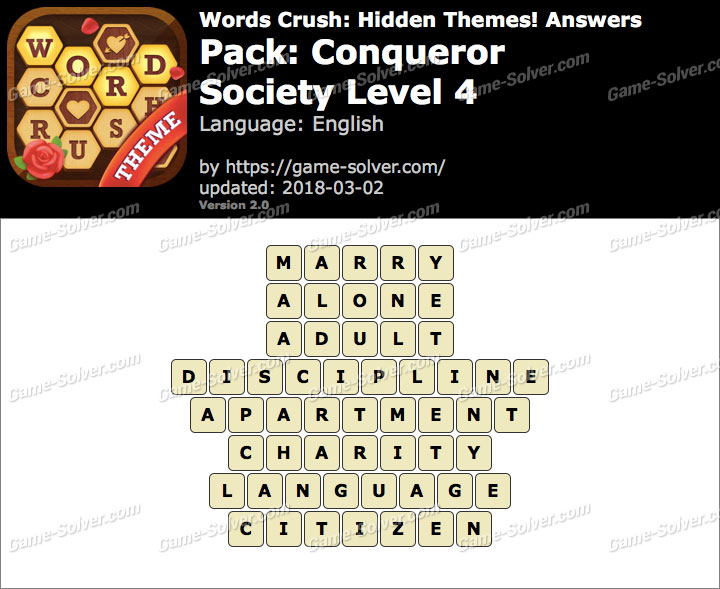 Words Crush Conqueror-Society Level 4 Answers