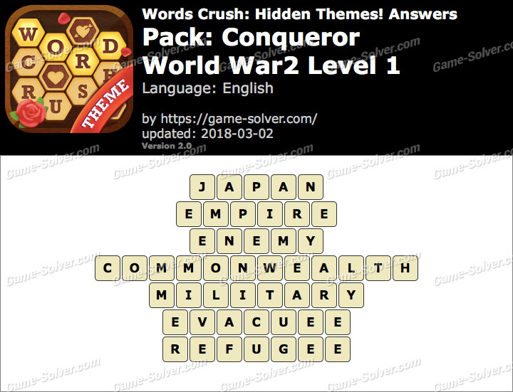 Words Crush Conqueror-World War2 Level 1 Answers