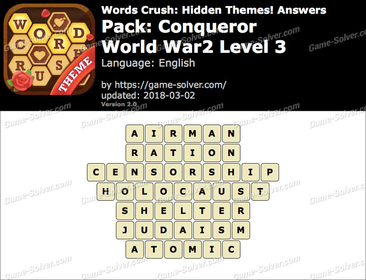Words Crush Conqueror-World War2 Level 3 Answers