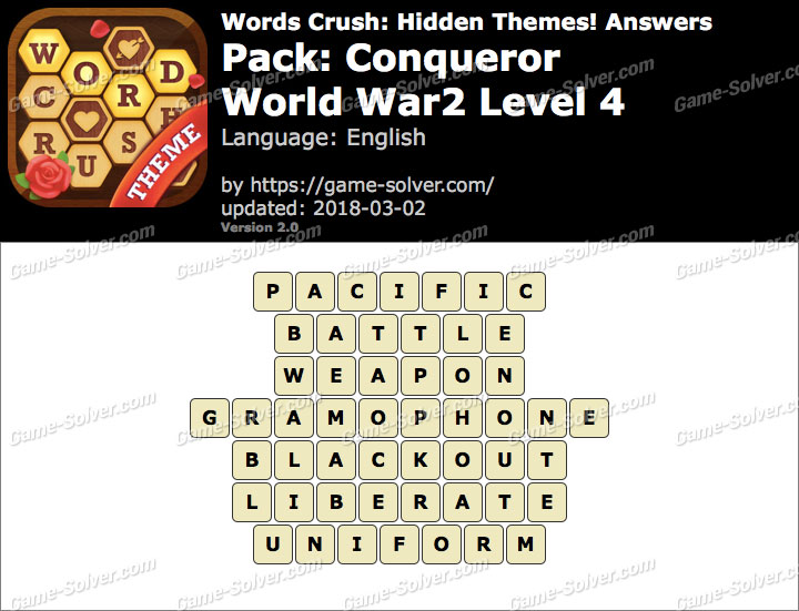 Words Crush Conqueror-World War2 Level 4 Answers