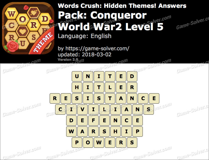 Words Crush Conqueror-World War2 Level 5 Answers