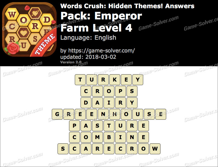 Words Crush Emperor-Farm Level 4 Answers