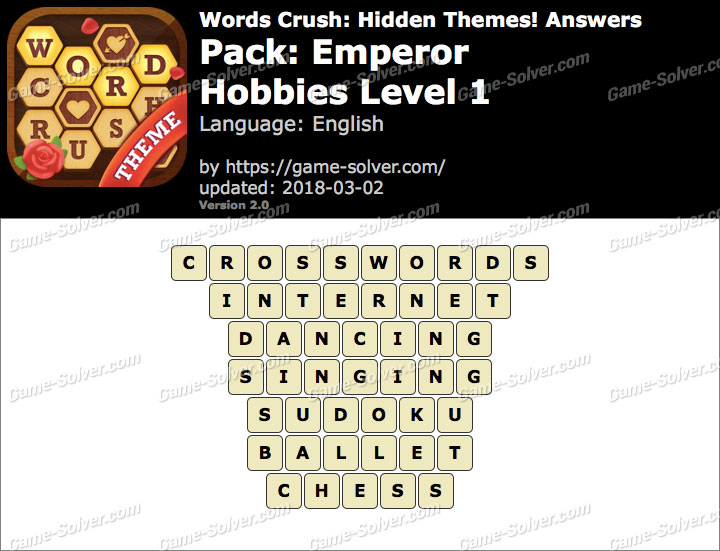 Words Crush Emperor-Hobbies Level 1 Answers