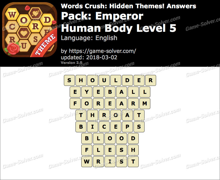 Words Crush Emperor-Human Body Level 5 Answers