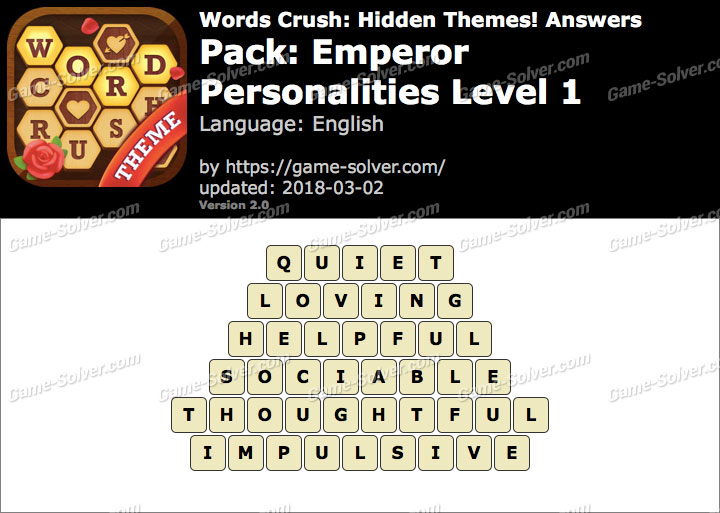 Words Crush Emperor-Personalities Level 1 Answers