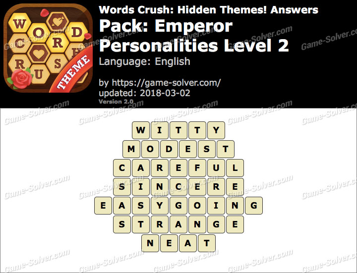 Words Crush Emperor-Personalities Level 2 Answers