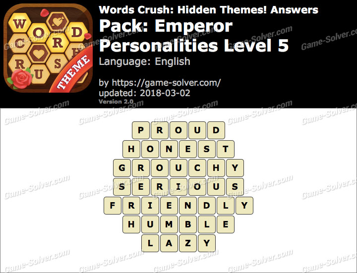 Words Crush Emperor-Personalities Level 5 Answers
