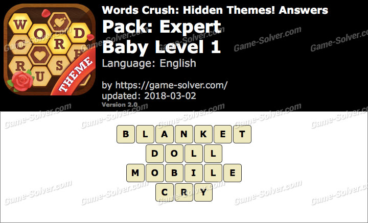 Words Crush Expert-Baby Level 1 Answers