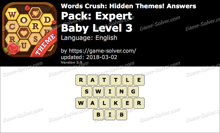 Words Crush Expert-Baby Level 3 Answers