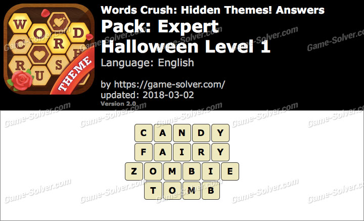 Words Crush Expert-Halloween Level 1 Answers