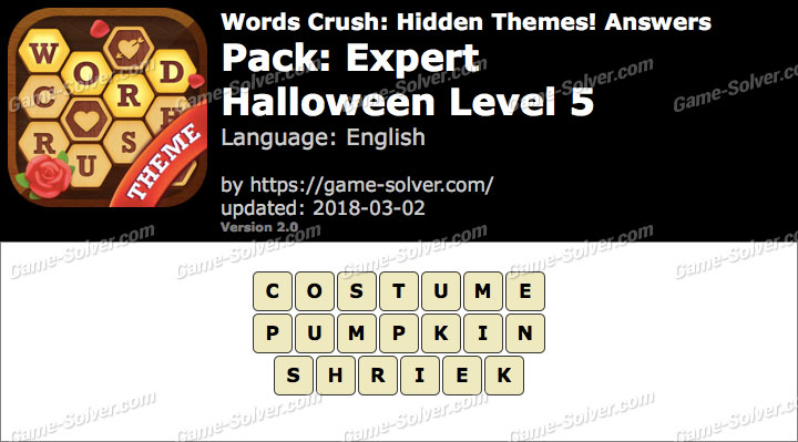 Words Crush Expert-Halloween Level 5 Answers