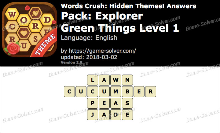 Words Crush Explorer-Green Things Level 1 Answers