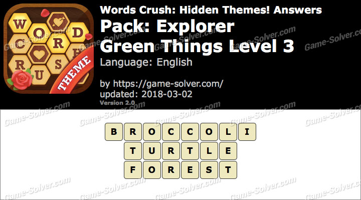 Words Crush Explorer-Green Things Level 3 Answers