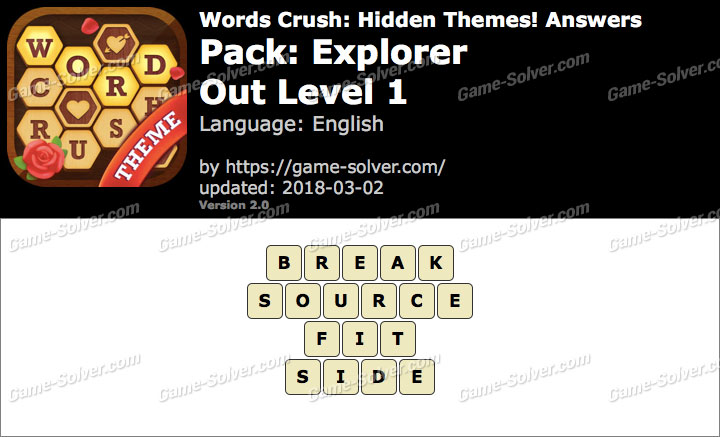 Words Crush Explorer-Out Level 1 Answers