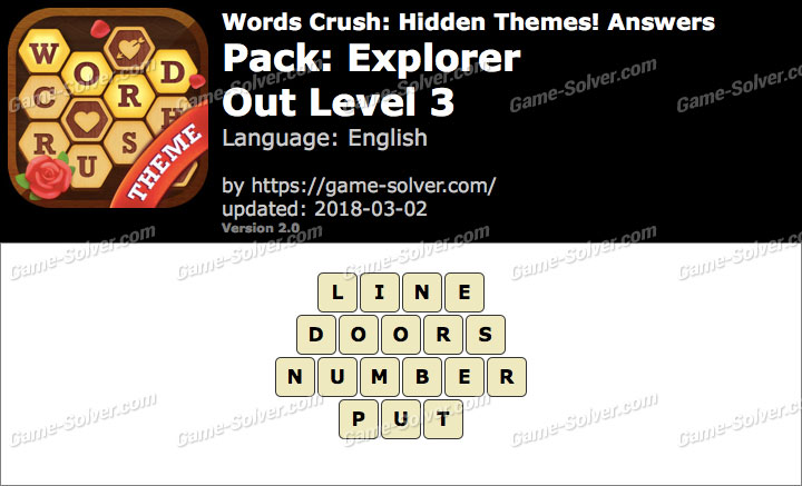 Words Crush Explorer-Out Level 3 Answers