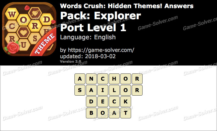 Words Crush Explorer-Port Level 1 Answers
