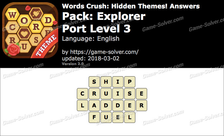 Words Crush Explorer-Port Level 3 Answers