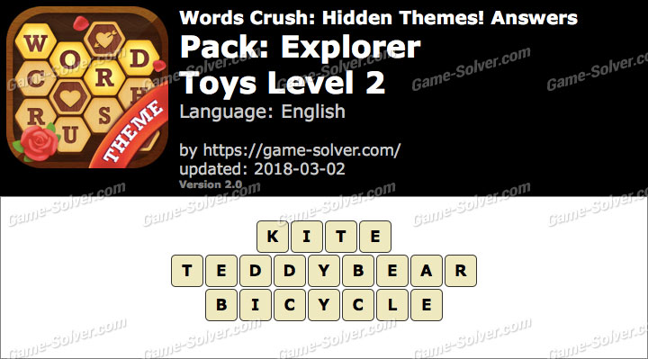 Words Crush Explorer-Toys Level 2 Answers
