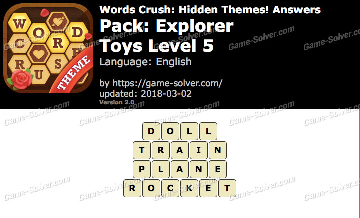 Words Crush Explorer-Toys Level 5 Answers