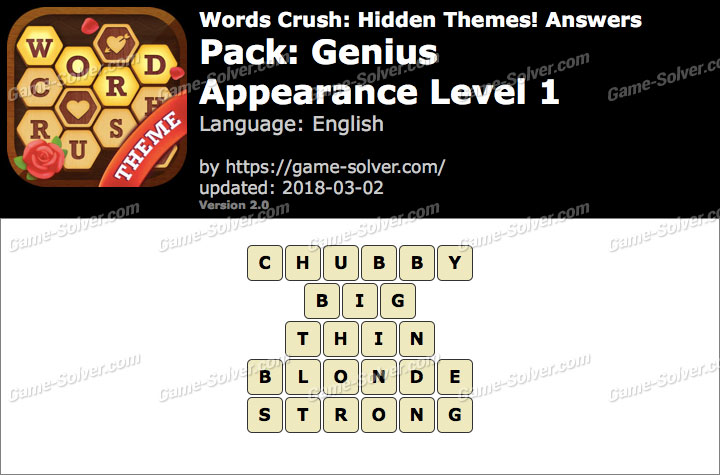 Words Crush Genius-Appearance Level 1 Answers