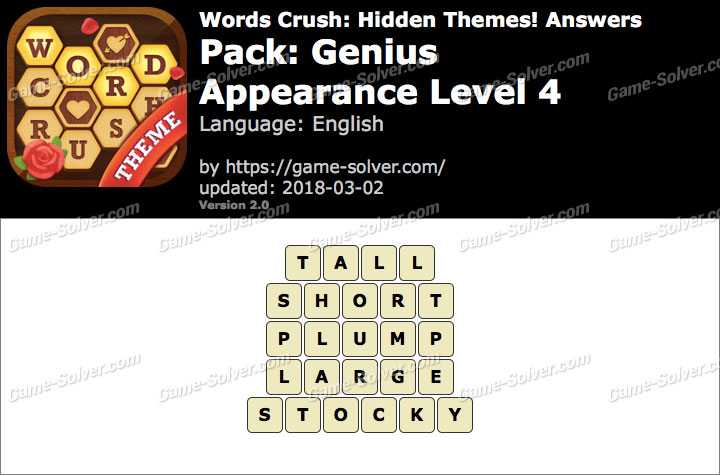 Words Crush Genius-Appearance Level 4 Answers