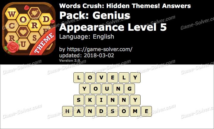 Words Crush Genius-Appearance Level 5 Answers