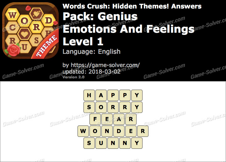 Words Crush Genius-Emotions And Feelings Level 1 Answers
