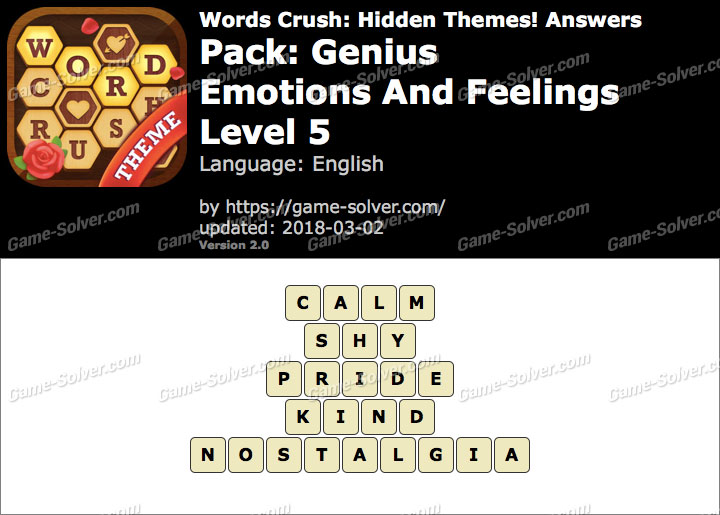 Words Crush Genius-Emotions And Feelings Level 5 Answers