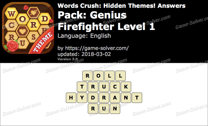 Words Crush Genius-Firefighter Level 1 Answers