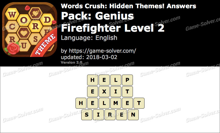 Words Crush Genius-Firefighter Level 2 Answers
