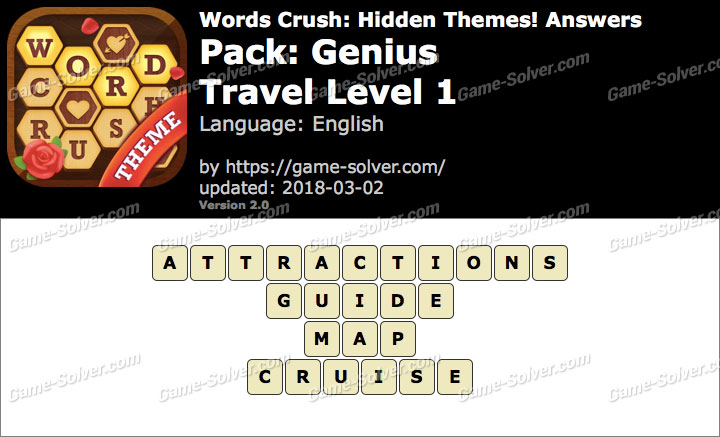 Words Crush Genius-Travel Level 1 Answers