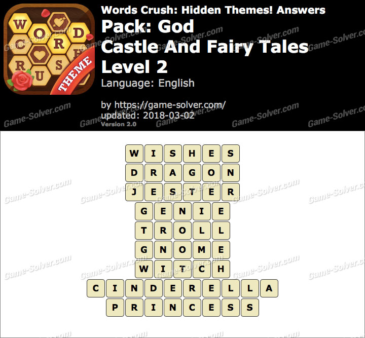 Words Crush God-Castle And Fairy Tales Level 2 Answers