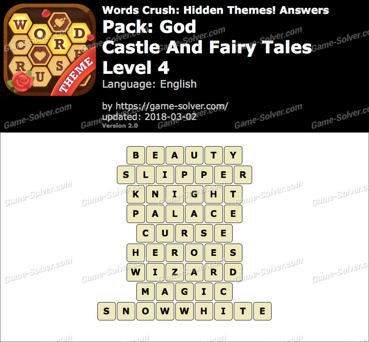 Words Crush God-Castle And Fairy Tales Level 4 Answers