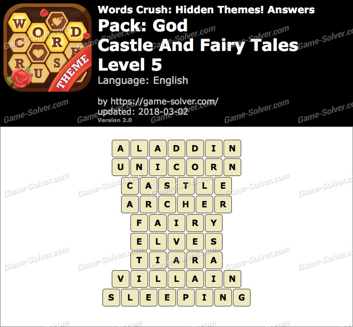 Words Crush God-Castle And Fairy Tales Level 5 Answers