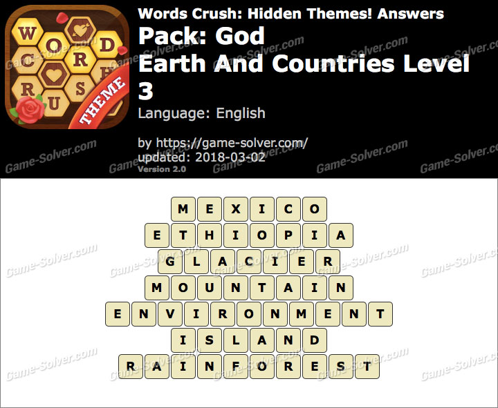 Words Crush God-Earth And Countries Level 3 Answers