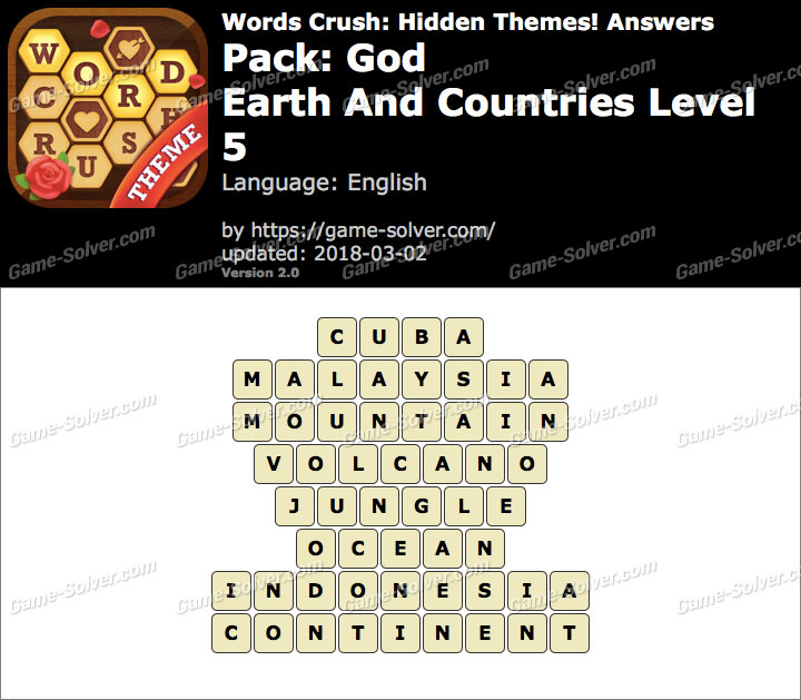 Words Crush God-Earth And Countries Level 5 Answers