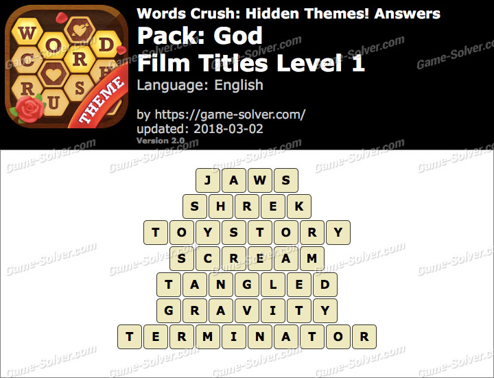 Words Crush God-Film Titles Level 1 Answers