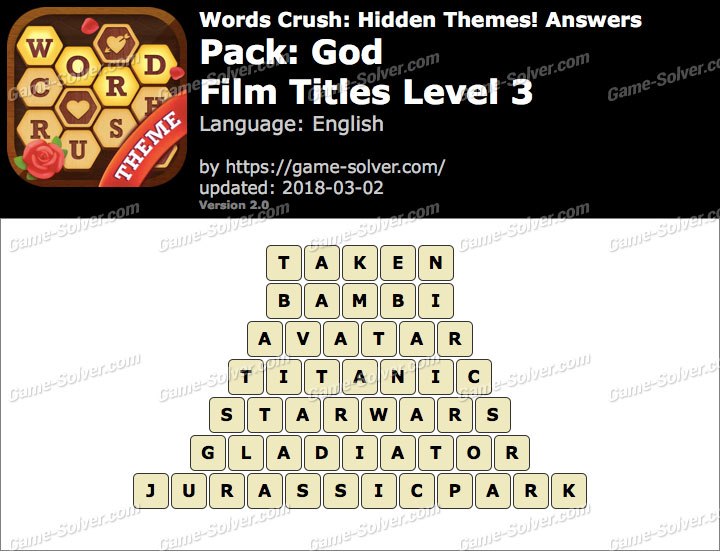 Words Crush God-Film Titles Level 3 Answers